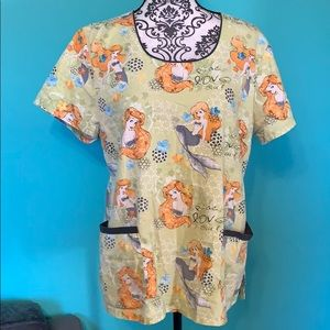 Disney Ariel Peace Love Surf Scrub Top L